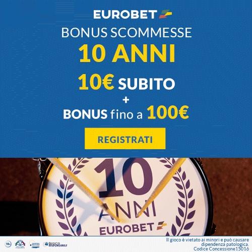 Eurobet Italia. bonus scommesse 10+100 euro