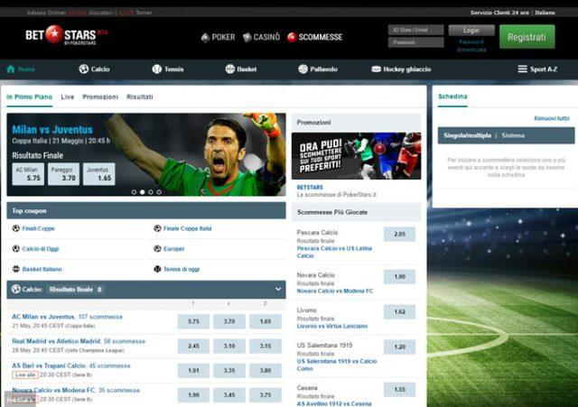 Schermata sito, quote e bonus di Betstars Italia, licenza AAMS